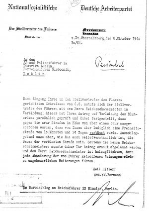 Letter from bormann to Globocnik 278